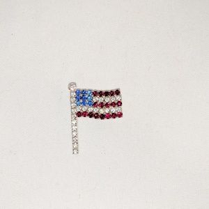 Rhinestone American Flag Flying USA Patriotic Pin